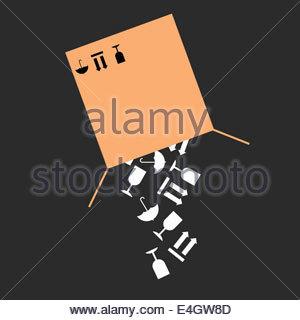 Fragile warning packaging symbols falling from cardboard box - Stock Photo