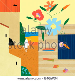 Abstract of woman with basket in summer fields with flowers and vegetables - Stock Photo