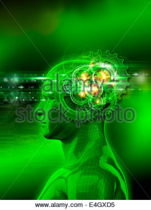 Model of man with sparks and spinning cogs inside head processing binary code - Stock Photo