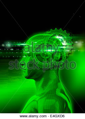 Model of man with cogs inside head processing binary code - Stock Photo