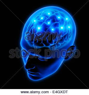 Sparks from human brain in blue transparent head - Stock Photo