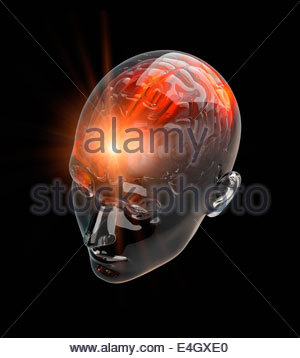 Illuminated activity from red human brain in transparent head - Stock Photo