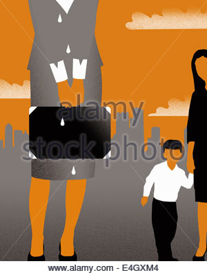Crying businesswoman leaving son with nanny - Stock Photo