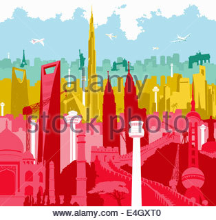 Airplanes flying over colorful montage of international landmarks - Stock Photo