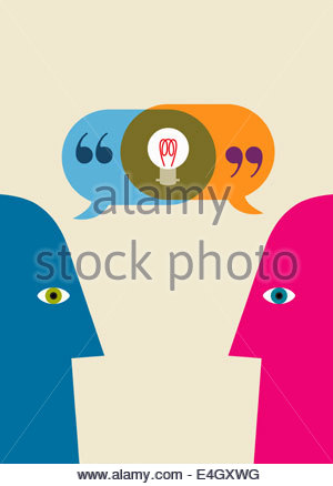 Light bulb inside of overlapping speech bubbles from two heads communicating face to face - Stock Photo