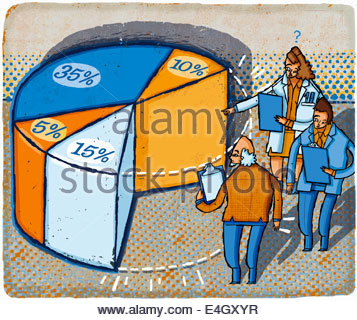 Business people with clipboards examining missing piece of pie chart - Stock Photo