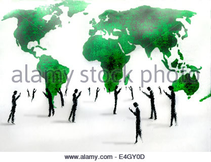 Business men and women checking cell phones in front of world map - Stock Photo