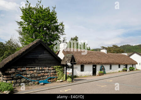 Glencoe and North Lorn Folk Museum in old thatched building in village. Glencoe, Highland, Scotland, UK, Britain - Stock Photo