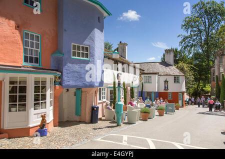 Portmeirion the Mediterranean style village near Porthmadog, Gwynedd, North Wales - Stock Photo