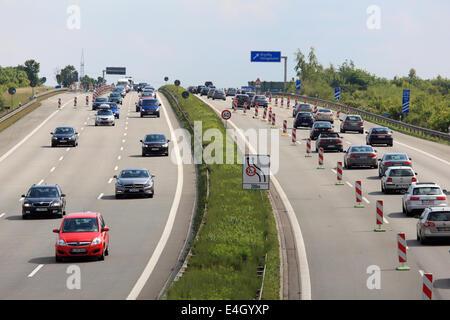 Traffic jam on German autobahn (highway) - Stock Photo