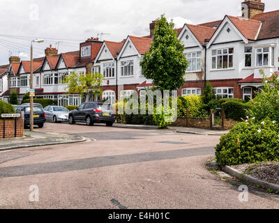 Typical terraced houses in suburb of Twickenham, Greater London, UK - Stock Photo