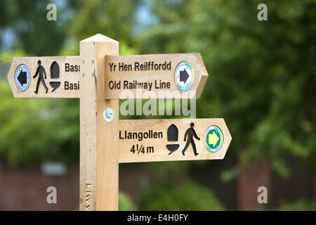 Information sign post on the Llangollen Canal near Chirk, North Wales, UK - Stock Photo