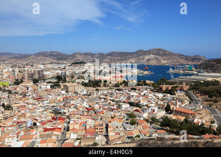 Panoramic view over the city of Cartagena, Spain - Stock Photo