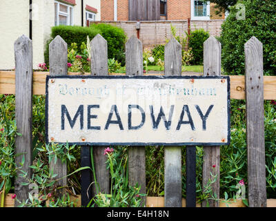 Old Meadway Road sign - placed before the Borough of Twickenham became the London Borough of Richmond upon Thames - Stock Photo