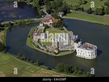 aerial view of Leeds Castle in Kent - Stock Photo