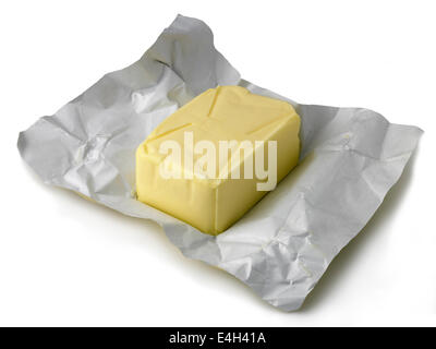 butter on wrapper - Stock Photo