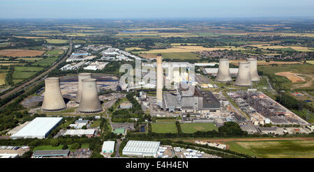 aerial view of Didcot Power Station in Oxfordshire, UK - Stock Photo