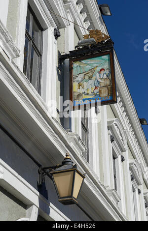 Pub sign for the Baltic Fleet, one of the few dockers pubs on the dock roads of Liverpool. - Stock Photo