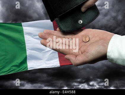 Hand With Purse And Cent Coin Before The Flag Of Greece As A