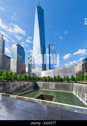 South Pool of National September 11 Memorial with One World Trade Center (Freedom Tower) behind, Manhattan, NYC, - Stock Photo