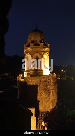 Night view of the tower of the San Giovanni Battista Church, built in the 16th century in the historical centre - Stock Photo