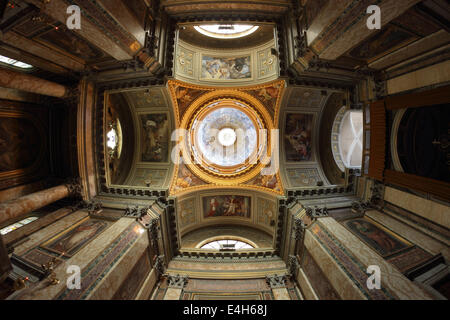 ROME, ITALY - JULY 9, 2014: Interior of the Neoclassic Dome, Basilica of Saints John and Paul located on the Celian - Stock Photo