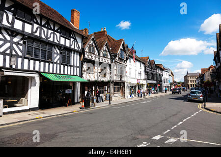 Stratford Upon Avon High Street shops tourists tourism Tudor buildings typical Cotswolds UK England - Stock Photo
