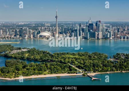 Aerial view of Toronto skyline with islands. - Stock Photo