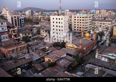 The skyline of city centre of Mandalay, Myanmar (Burma) - Stock Photo