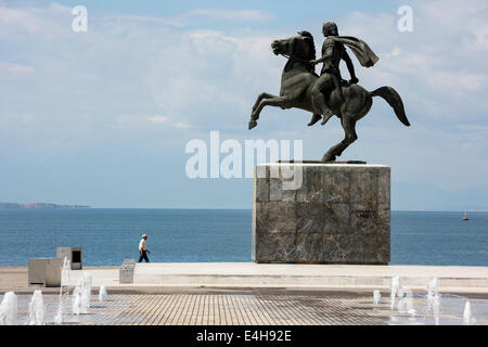 Statue of Alexander the Great and his horse Bucephalus, during a sunny morning, in the city of Thessaloniki, Greece. - Stock Photo