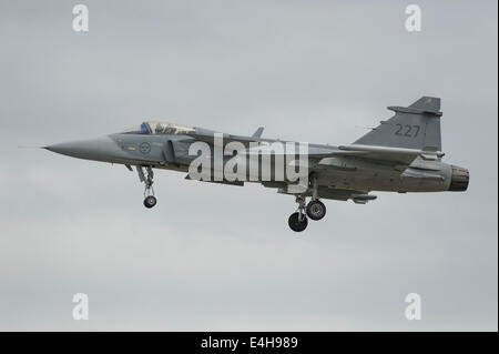 RAF Fairford, Gloucestershire UK. 11th July 2014. Saab JAS 39C Gripen fighter aircraft of the Swedish Air Force - Stock Photo