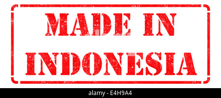 Made in Indonesia on Red Rubber Stamp. - Stock Photo
