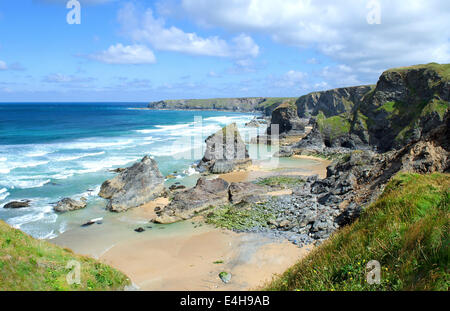 Bedruthan steps on the north coast of Cornwall, UK - Stock Photo