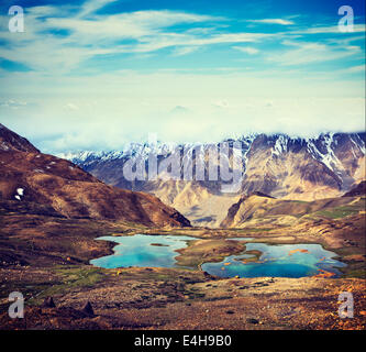 Vintage retro effect filtered hipster style travel image of mountain lakes in Spiti Valley in Himalayas. Himachal - Stock Photo
