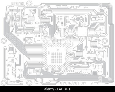 Circuit board computer drawing - electronic motherboard with chips. Industry technical background - Stock Photo