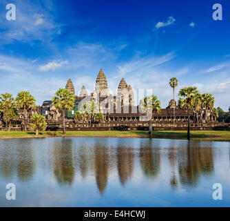 Cambodia landmark Angkor Wat with reflection in water - Stock Photo