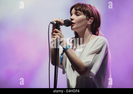 Glasgow band Chvrches perform at T in  The Park Balado, Kinross, Scotland, UK. 11th July, 2014.  Credit:  Loraine - Stock Photo