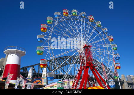 ferris wheel at Sydney's luna park amusements, at Milsons Point,Sydney,New south Wales,Australia - Stock Photo