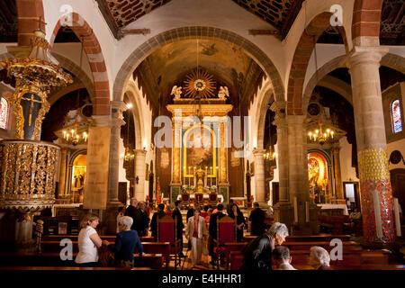 interior of the church Iglesia Matriz de El Salvador in Santa Cruz de La Palma, capital of the island La Palma, - Stock Photo