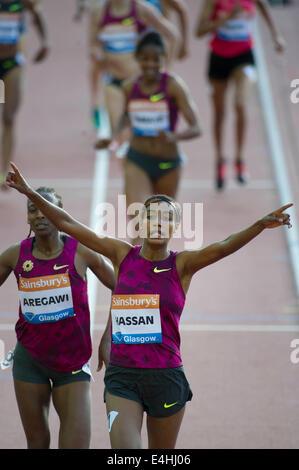 Glasgow, Scotland, UK. 11th July, 2014. IAAF Diamond League and Hampden Stadium. Pictured 1500 Women; Safan Hassan - Stock Photo