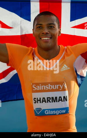 Glasgow, Scotland, UK. 11th July, 2014. IAAF Diamond League and Hampden Stadium. William Sharman GB after winning - Stock Photo