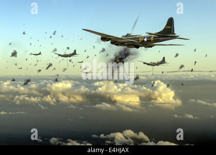 American B-17 Flying Fortresses depicted taking flak on a daylight bombing operation over occupied France in late - Stock Photo