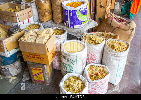 Indian market in Rajastan with noodles, Asia - Stock Photo