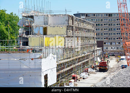 Demolition of obsolete precast concrete council social housing flats homes Heygate Estate clearing for development - Stock Photo