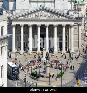Royal Exchange building between Cornhill and Threadneedle Street at the Bank road junction - Stock Photo