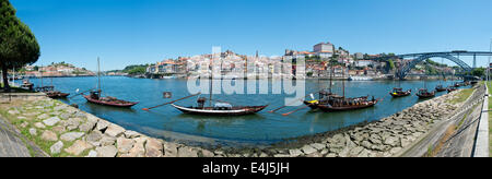 Oporto - June 1: Ribeira is an ancient and typical place in Oporto, located along the Douro river and registered - Stock Photo