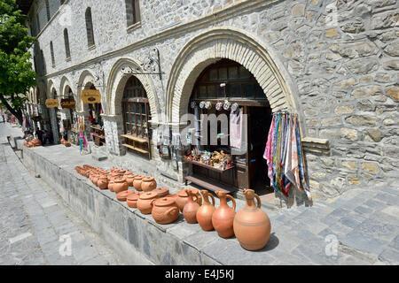 Souvenir shops outside the 18th century caravanserai, Sheki, Azerbaijan - Stock Photo