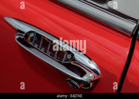 1957 restored red Chevy BelAir door handle - Stock Photo - Door Handle 1957 Chevrolet Belair Annual Route 66 Car Show San Stock