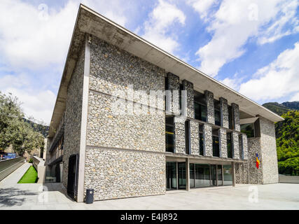 The new parliament building, home to the Andorran Parliament, Andorra la Vella, Andorra - Stock Photo