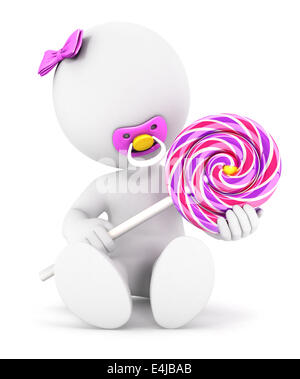 3d white people baby girl and a lollipop, isolated white background, 3d image - Stock Photo